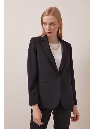 Gusto Tek Düğme Blazer Ceket - Mavi Tek Düğme Blazer Ceket - Mavi Siyah